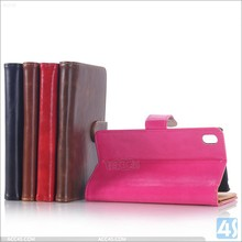 Three layer flip wallet leather case for sony xperia z4 , for sony xperia z4 leather case