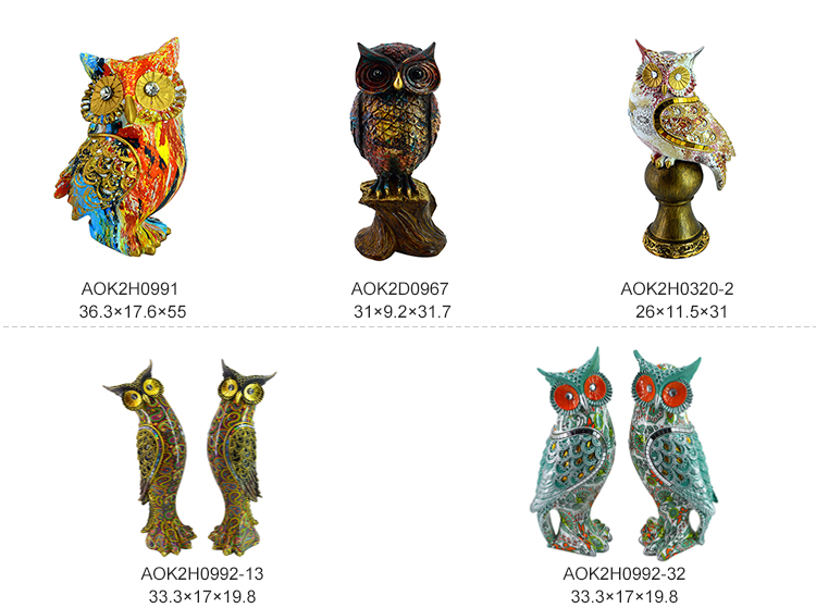 Outdoor Bar Creative Art Craft Animal Owl Figurine Resin Bird