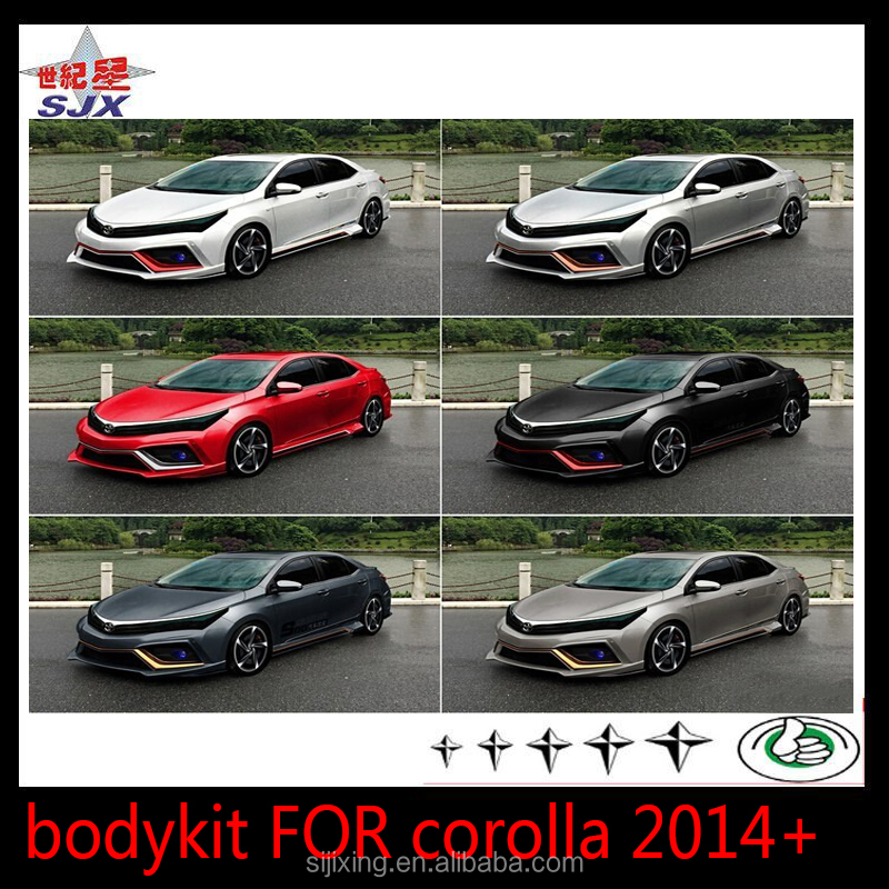 PLASTIC CAR BODY KIT UNIVERSAL STYLE BUMPERS FOR COROLLA2014 big bodykit for new corolla 14-16