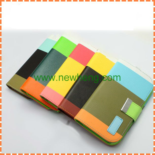 2013 New!!! Elegant style wallet leather case for iphone 5, tricolor with card slots and lanyard (5 colors optional)