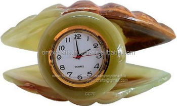 Onyx Sea Shell Shape Clock