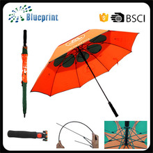 Auto open double layer arange and dark green golf umbrella