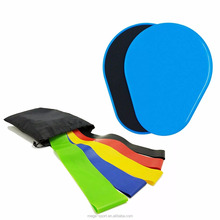 Core sliders fitness sliding gliding discs and yoga exercise loop resistance bands