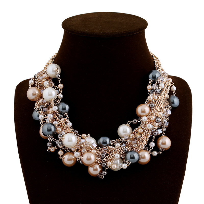 Womens Bib Pearl Pendant Chunky Multilayer Chain Collar Statement Necklace