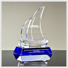Glass Crystal Sailboat Trophy Award With Engraving Base