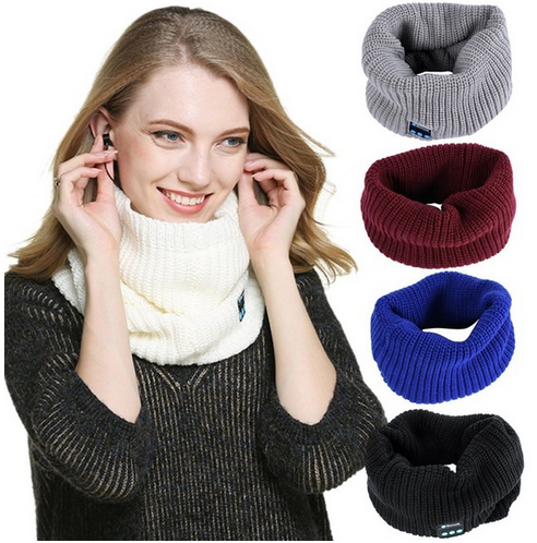 wholesale women winter neckerchief Wireless Bluetooth Smart Cap muffler Warm Beanie Hat Scarf Headphone Headset Speaker