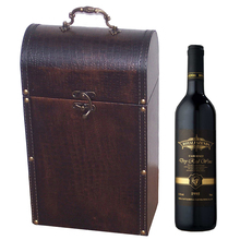 Custom PU leather 750ml double bottle wine set glass gift box