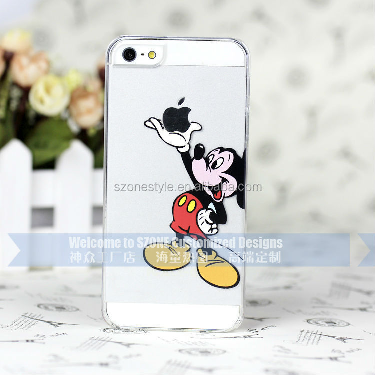 Clear cartoon design 3D carving mobile phone case for iphone 5