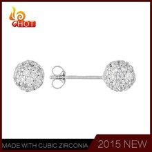 Ball shaped CZ studs fashion earring, crystal earring