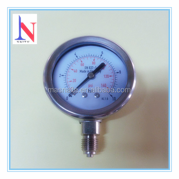 Chrome Plating Connection Bourdon Tube Pressure Gauge Wika Type