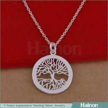 2015 korea crystal tree pendant necklace jewelry <strong>silver</strong> plated design factory
