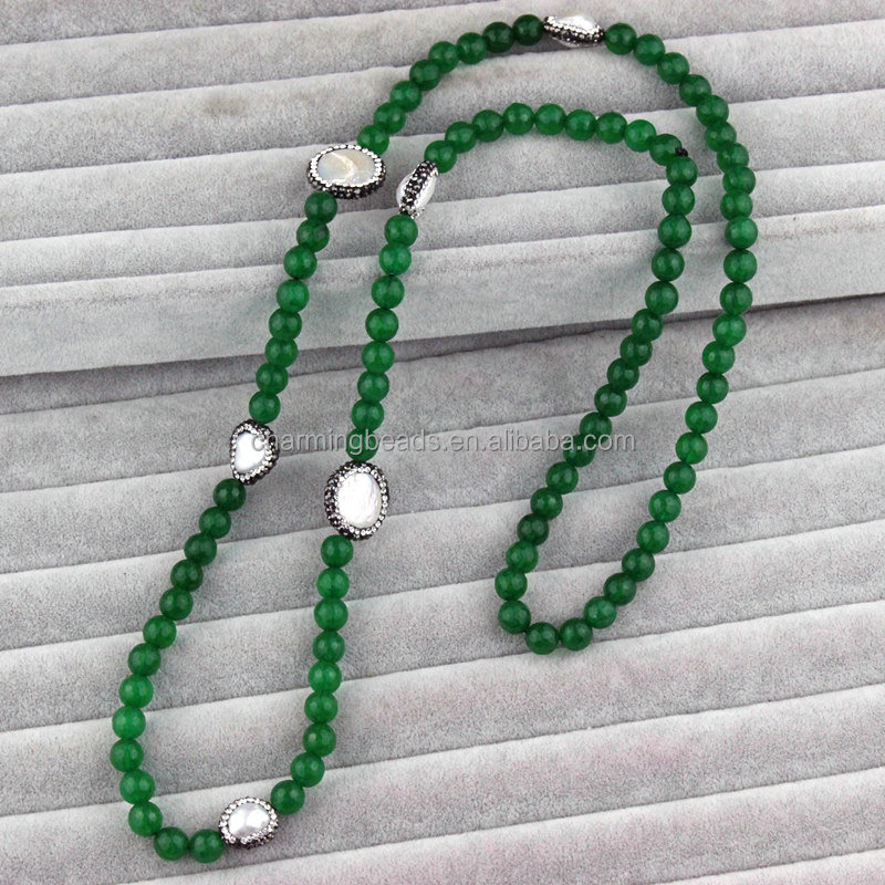CH-LSN0124 Natural dark green jade beads necklace,rhinestone pave pearl necklace,long dyed jade beads necklace for sale