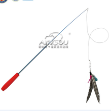 cat toy telescoping fishing rod Realistic Spin Feather Wand - transparent string