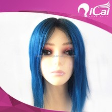 New Arrival Middle Parting Line Brazilian Blue And Black Ombre Wig