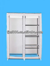 Double Canvas Shelves Storage Wardrobe with Hanging Rail