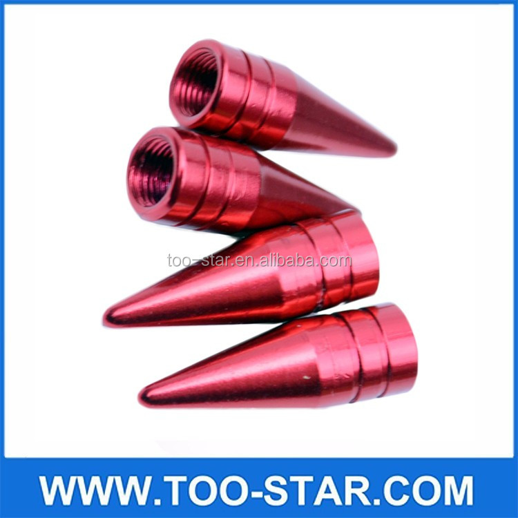 4 PIECES/UNIT RED LONG SPIKED VALVE STEM CAPS METAL THREAD KIT/SET FOR RIM/WHEEL/TIRES