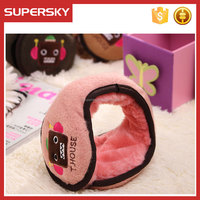 A-2042 adjustable ear wrap earmuffs personalized folding ear warmer muffs embroidery fleece foldable ear muffs