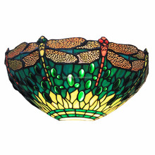 12-inch Vintage Pastoral Stained Glass Tiffany Dragonfly Wall Lamp Hallway Wall Sconce Lamp Fixture