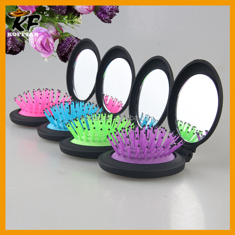 wholesale cheap foldable round private label hair brush with mirror