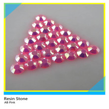 Eco-frien Hot Fix SS6 4mm AB Pink Clear color flatback round shape rhinestone epoxy Resin Stone