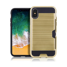 2 In 1 Card Slot Armor Brush Phone Case For Iphone X