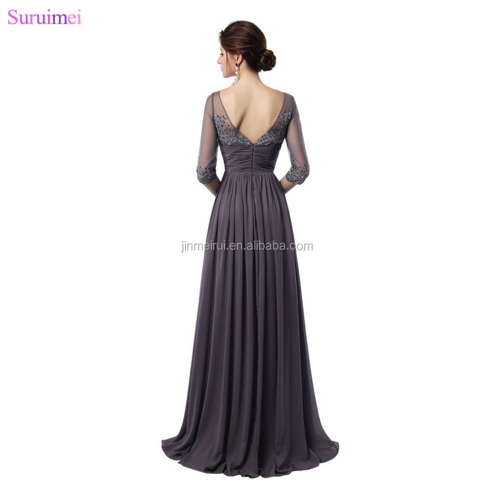 Gray Bridesmaid Dresses Fashion Lace Applique With Half Sleeves Floor Length Chiffon V Back Long Brides Maid Dresses