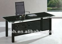 6ft retangular simple design executive office boss table with tempered glass top(FOHYTJ-8076)