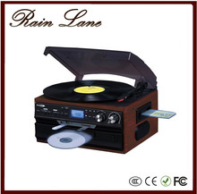 Rain Lane New Style Hi-Fi stereo System best phonograph turntable with CD Cassette Radio SD USB record and player