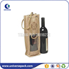 Custom promotional jute one bottle wine bags
