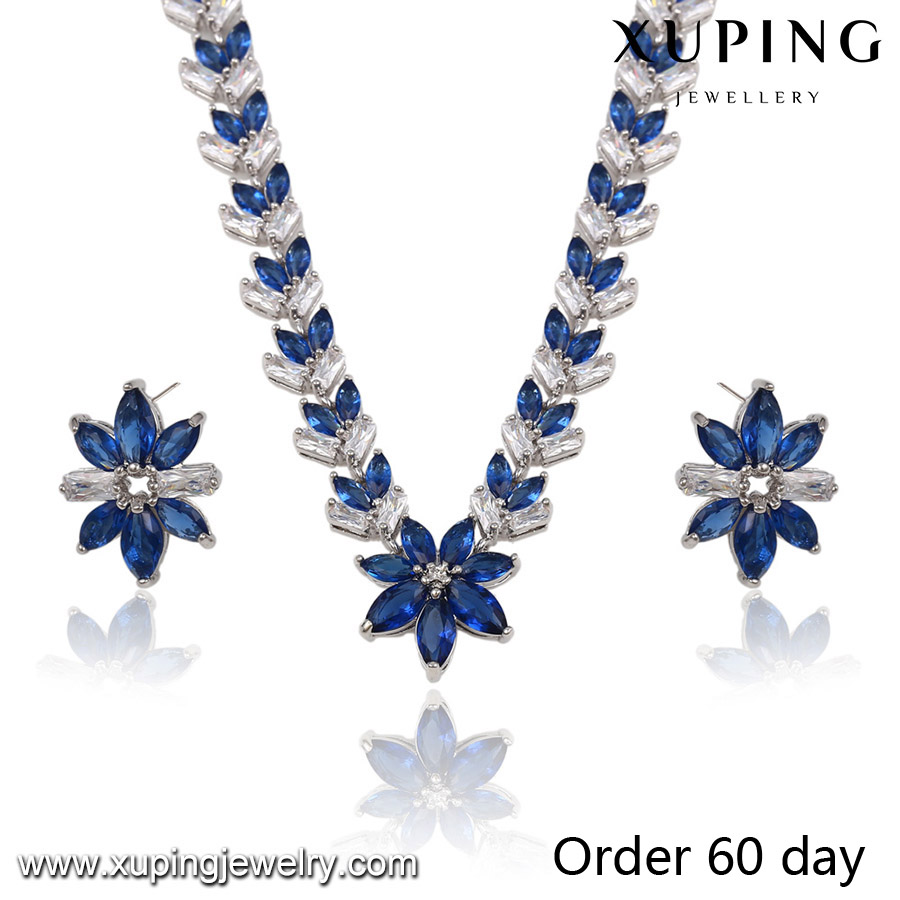 S-11 Xuping flower women handmade wholesale african costume jewelry set,party design jewelry set