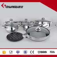 Elegant design 13pcs stainless steel cookware/cooking sets with glass lid