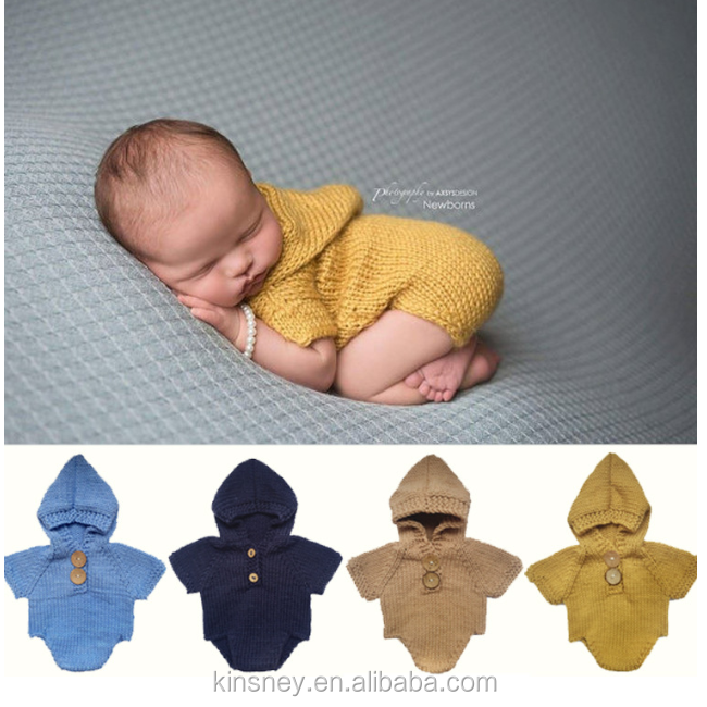 KS10432A Knitted pattern cute baby solid color hooded romper lovely new born clothes