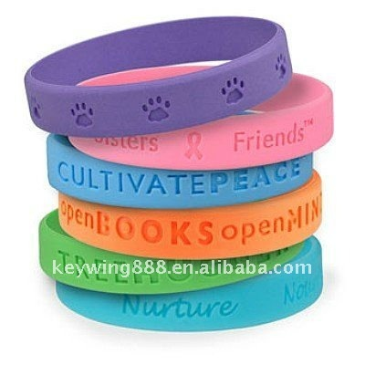 Lovely and Colorful Debossed Pure Silicone Bracelet & Bangle