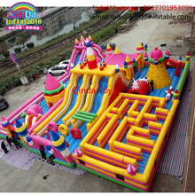 20*15*8m Popular cheap inflatable jumping castle with children play maze,Guangzhou lovely toys giant inflatable castle slide