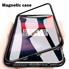 Factory Price Metal Magnetic Adsorption Phone <strong>Case</strong> For OnePlus 7 Pro 6T 5T Tempered Glass Back Cover <strong>Case</strong>
