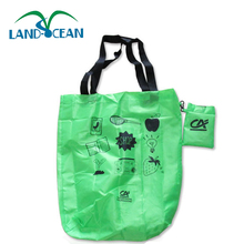 Hot Selling Recycled custom foldable 190T 210D waterproof shopping tote polyester folding bag