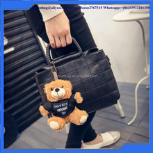 Double-layer grid Fashion Woman Lady Classic PU leather Bag Handbag with Little Bear