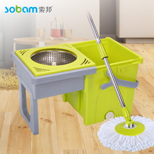 Compact folding mop bucket system rotating spin and go mop