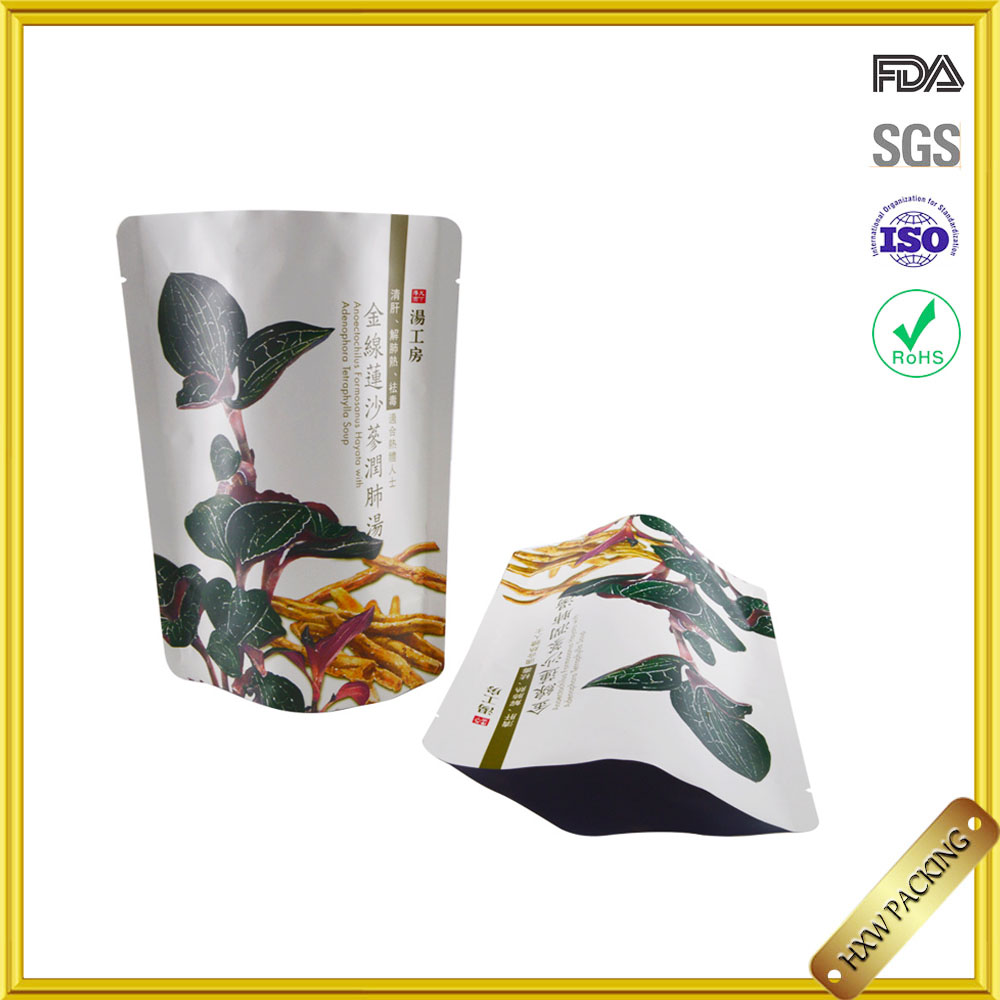 flexible aluminium foil inside standing up vegetable plastic bag with zipper
