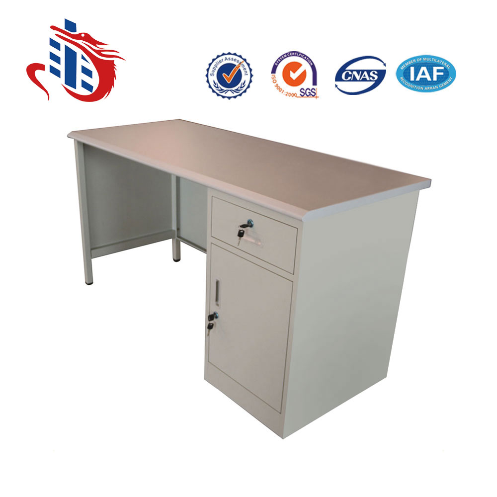Mini rectangle shaped mdf wooden top office staff desk with cabinet