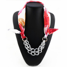 Pendant Necklace Jewelry print flower Scarf Woman Scarves