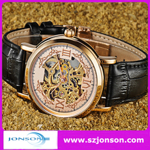 Genuine leather strap tourbillon watches automatic movement with your brand