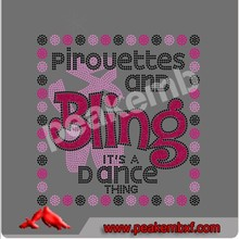 Rhinestones wholesale Pirouettes and Bling it's a dance thing & PINK AWARENESS RIBBON