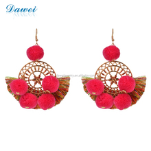 Flower Shaped Round Hollow Out Gold Plating Alloy Accessories Pompon Earrings With Short Tassel
