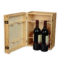 Custom logo antique style 6-bottle wine carrier, wine box with dividers