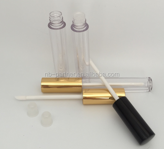 2017 Makeup 5g empty lip gloss tube with brush / gold lip gloss tube packing for lip care