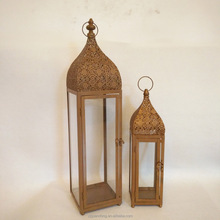 Attractive tall glass panel home decor metal moroccan candle lantern