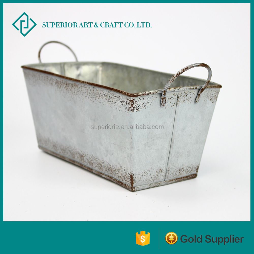 Factory direct sales galvanized metal flower pot stands rectangle antique decorative hanging flower planters for Home and garden