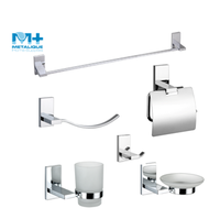 Stocked Modern Design Metal Zinc Alloy Chrome Bathroom Accessory Bath Hardware Sanitary Sets 61030-CR
