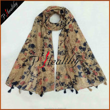 2017 Creative Design Women Girls Spring Scarf Shawl Arab Pashmina Muslim Islamic Printed Flower Viscose Dubai Scarf Hijab
